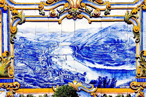 Gli azulejos , Azulejos alla stazione di Pinhao , Portogallo