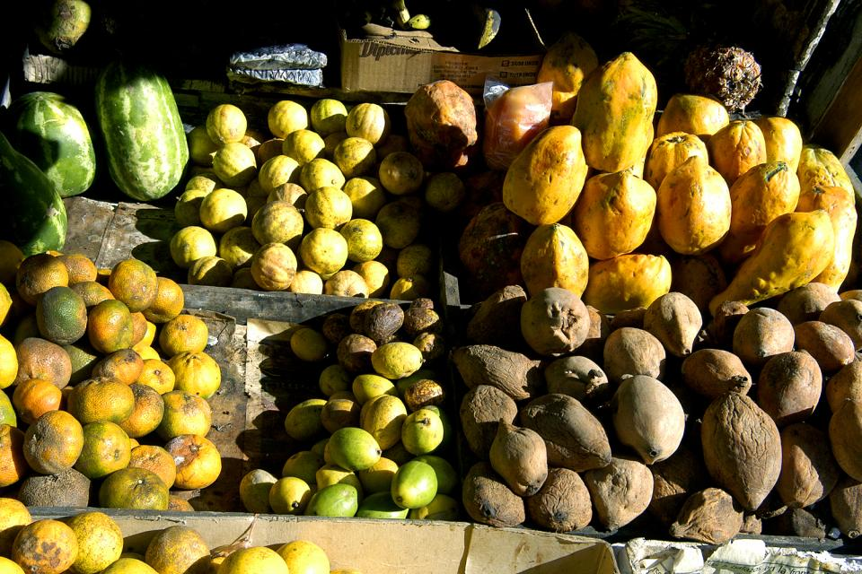 Mercado Modelo market hall , Tropical fruit , Dominican Republic