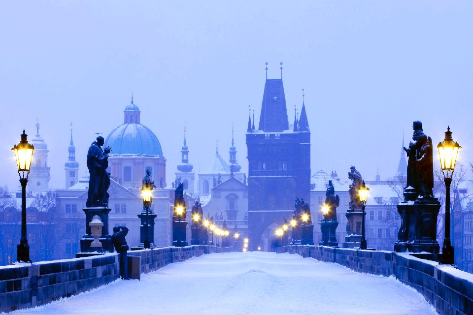 Charles Bridge in Prague , A visit of the Old Town , Czech Republic