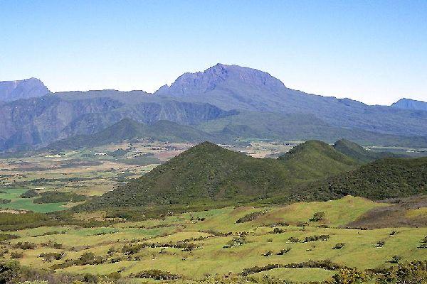 """La vegetación endémica de los """"Hauts"""" , Vegetación endémica vista desde arriba , Reunión"""