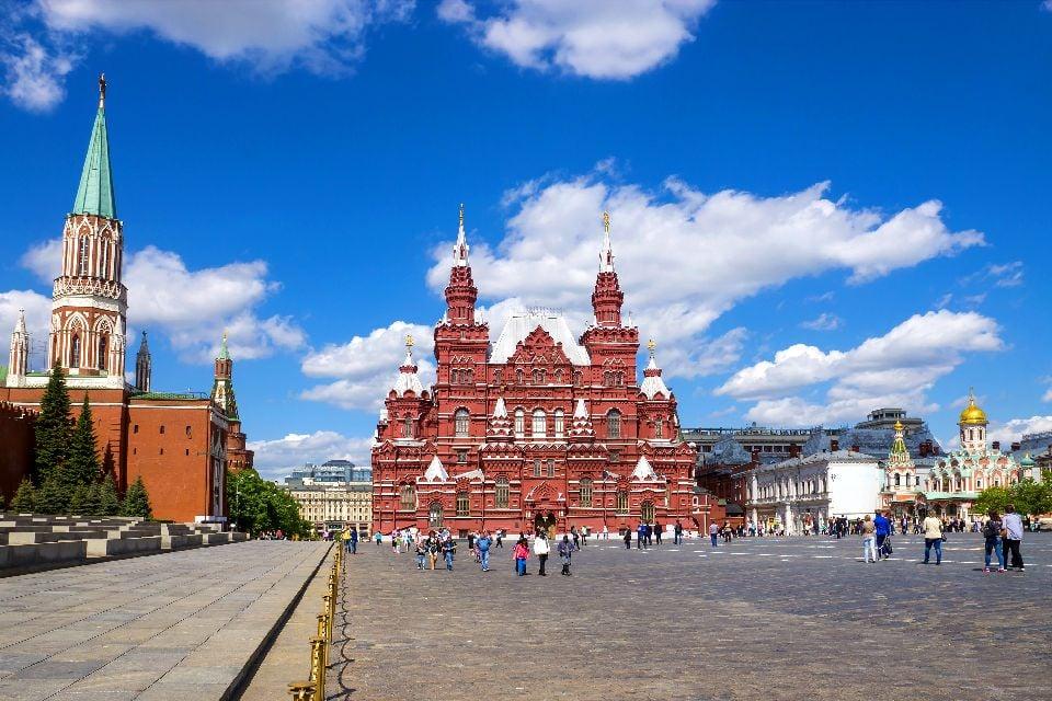 La piazza Rossa , La muraglia del Cremlino , Russia