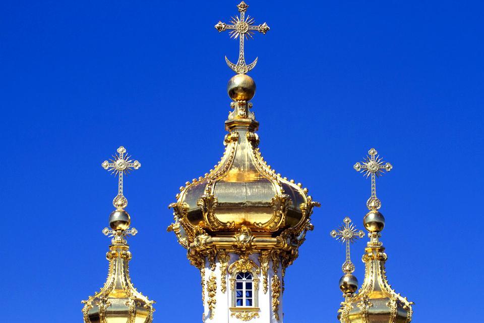 Le palais de Petrodvorets , Jolies coupoles , Russie