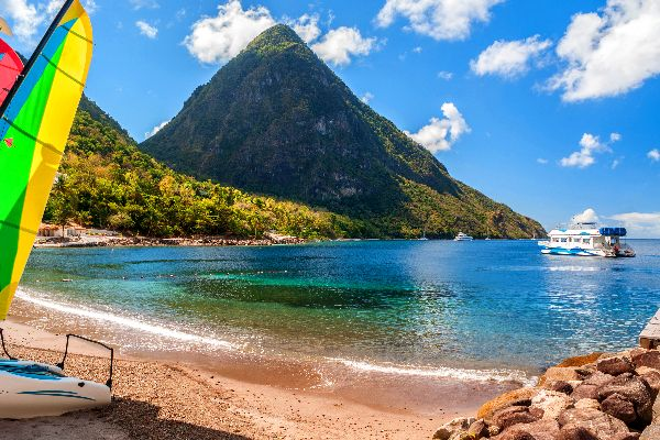 The Pitons , A view of the two Pitons , St Lucia