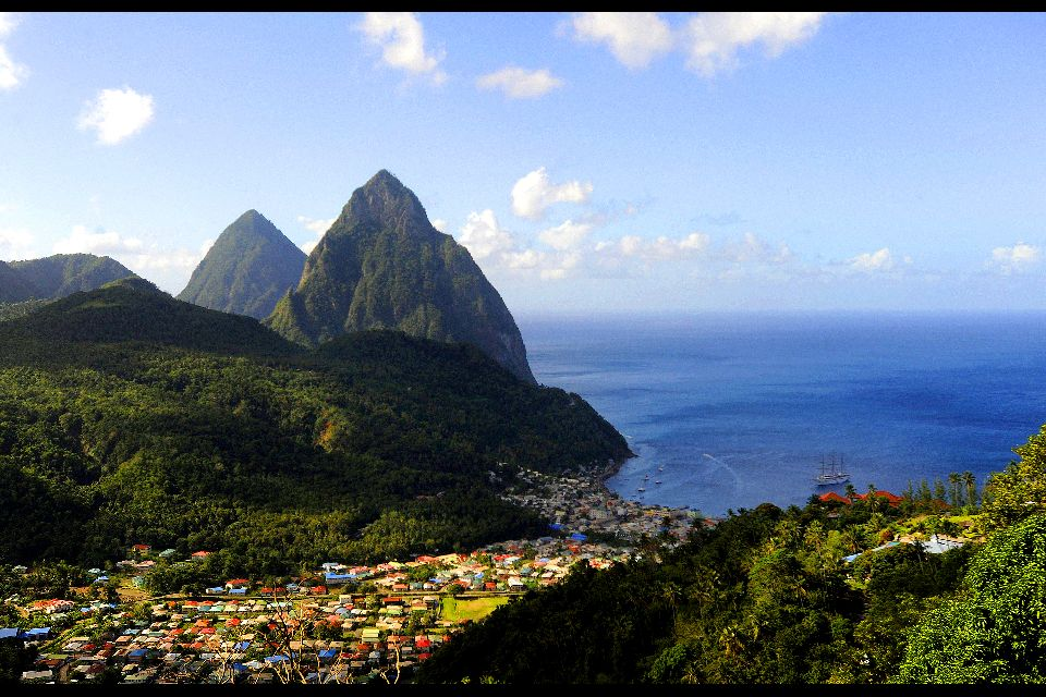 The Pitons , Petit Piton and Grand Piton , St Lucia