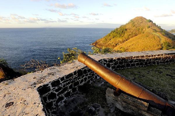 The historic Pigeon Island national park , View of Martinique from Pigeon Island , St Lucia