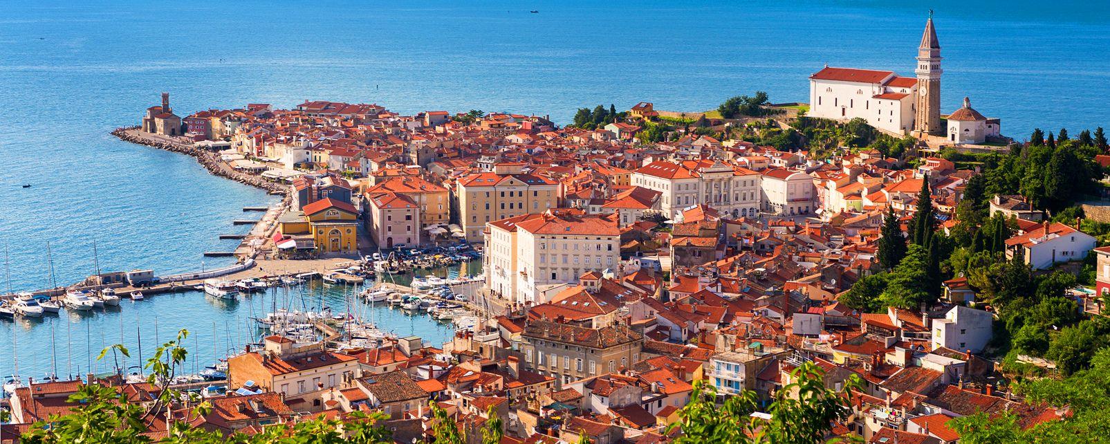 Piran , Aperçu du port de Piran, Slovénie , Slovénie