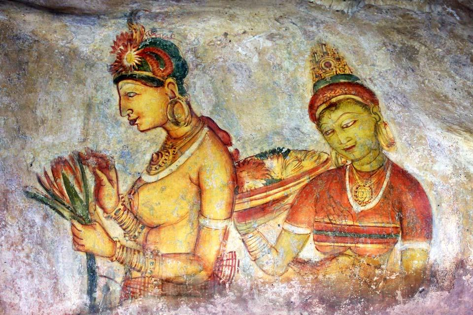 Sigiriya Rock , Paintings at Sigiriya Rock , Sri Lanka
