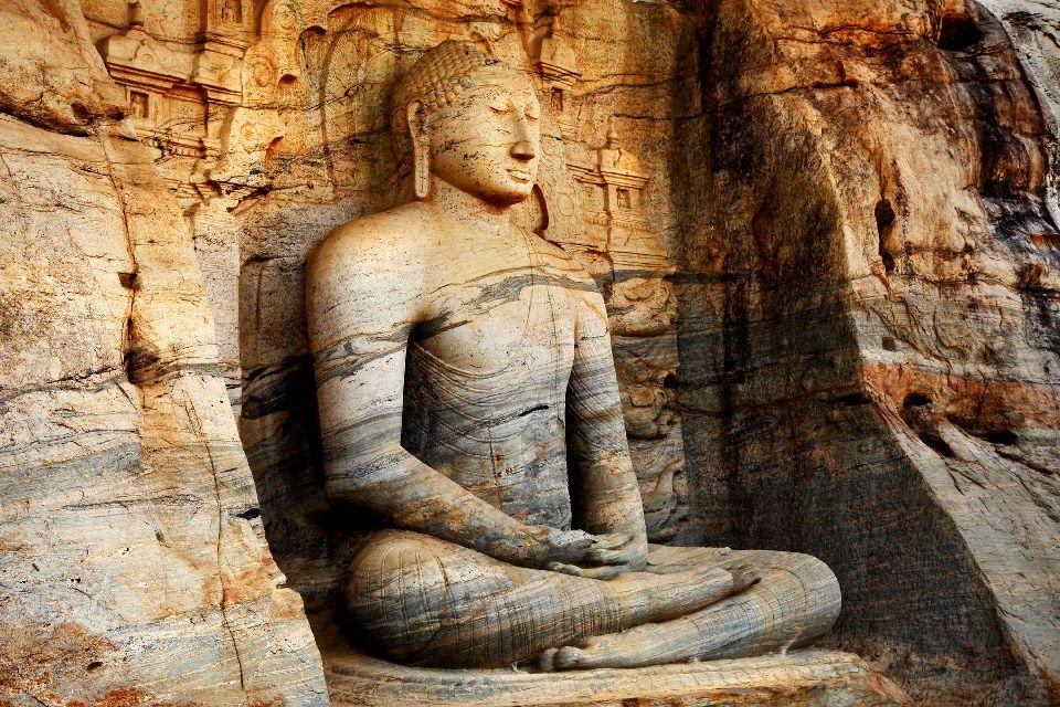 Polonnaruwa , A sitting Buddha , Sri Lanka