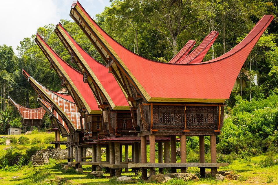 L'architecture traditionnelle , Les maisons Toraja traditionnelles, Sulawesi , Indonésie