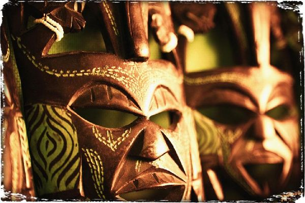 Handicraft and music , African masks , Tanzania