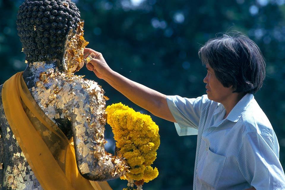 Ayutthaya , Gold leaves, Thailand , Thailand