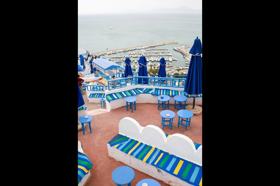 Sidi Bou Said , Vista del Café des Délices , Túnez