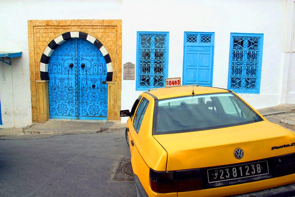 Studded wood doors , A traditional Tunisian door , Tunisia