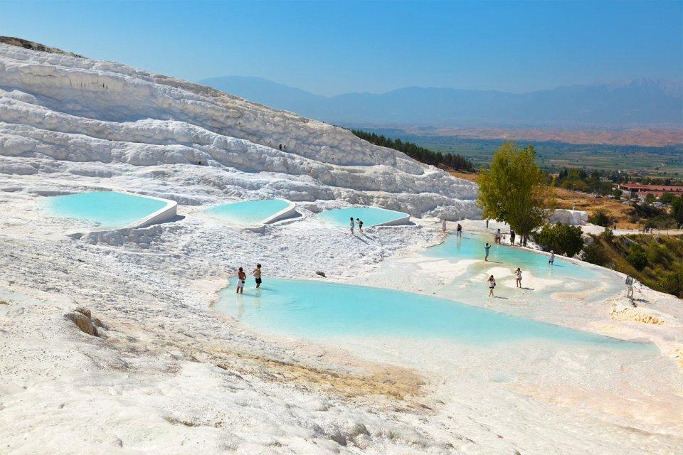 Les paysages, pamukkale, izmir, turquie, europe, vasque, naturel, baignade