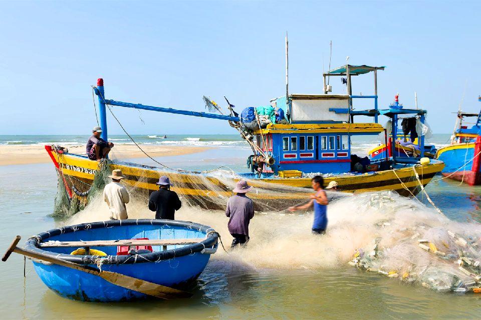 Las costas de Annam , Redes de pescadores de Annam , Vietnam