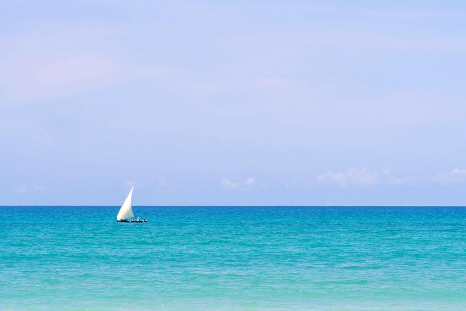 La costa este , Playas en la costa oriental de Zanzíbar , Tanzania