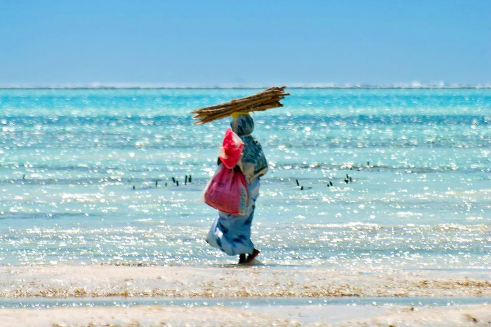 La plage de Jambiani , Les plages orientales de Zanzibar , Tanzanie