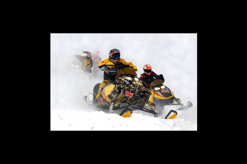 Winter activities , Snowmobiling in Quebec , Canada