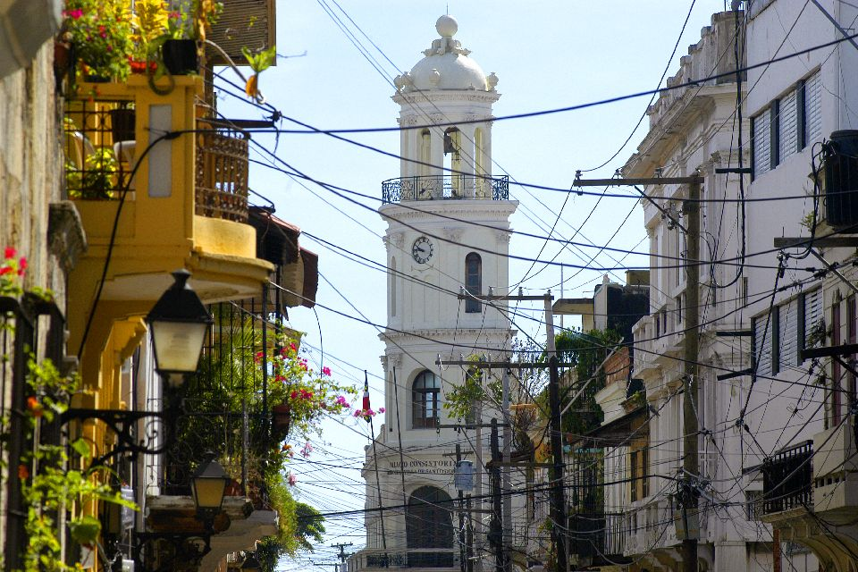 "The ""Zona Colonial"", or historic centre , A typical street in Ciudad Colonial , Dominican Republic"