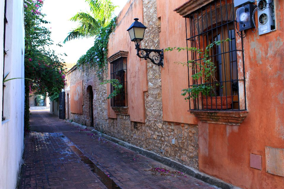 "The ""Zona Colonial"", or historic centre , Cobbled streets and colonial houses , Dominican Republic"