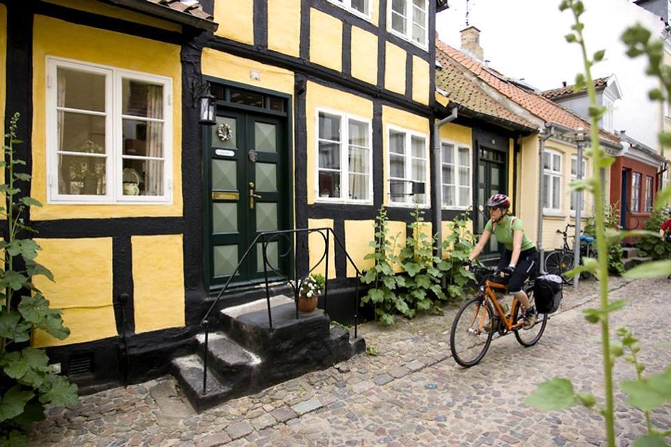 La isla de Fionia , Casas con entramados de madera en una calleju , Dinamarca