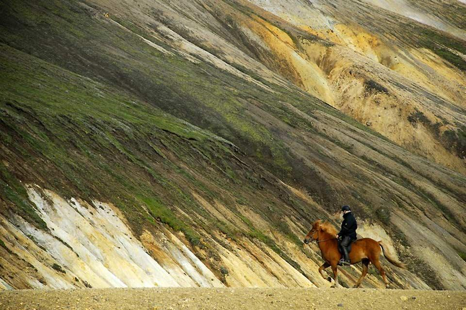 Horse-riding , An Icelandic horse-rider , Iceland