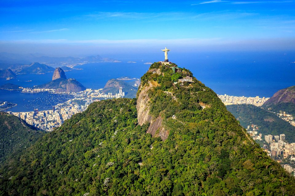 The Corcovado , View of Christ the King from a helicopter , Brazil