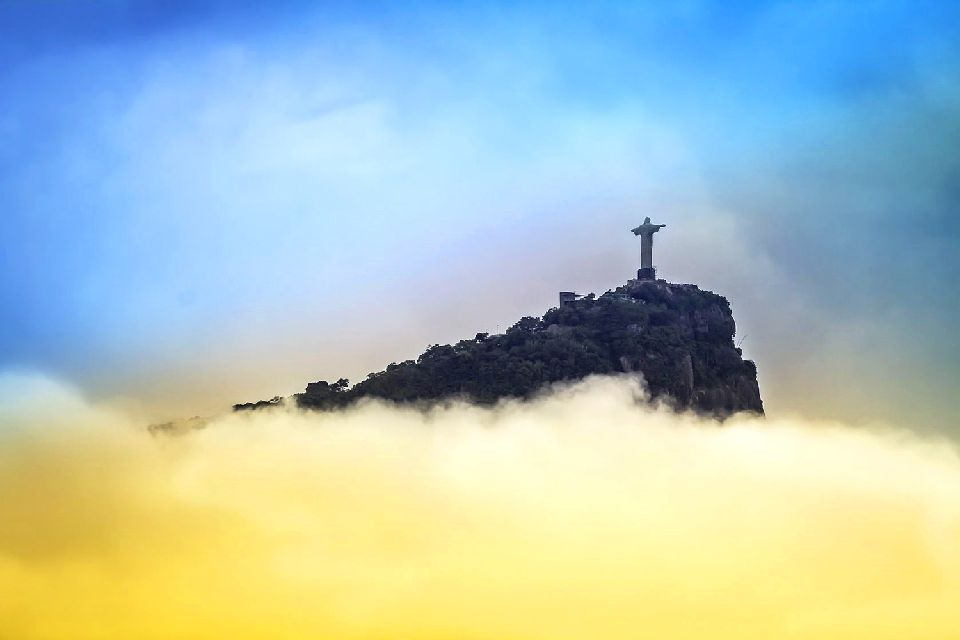The Corcovado , Christ the Redeemer overlooking Rio bay , Brazil
