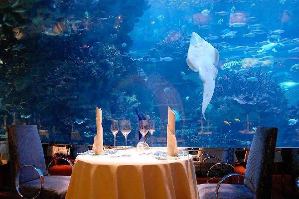 Underwater dinner. , The Burj Al Arab Hotel, Dubai , United Arab Emirates