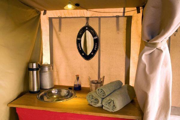 Camping , Inside a luxury tent's bathroom , Kenya