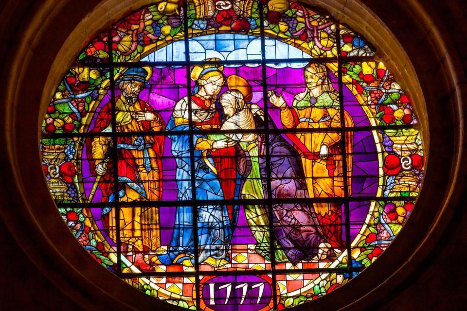 La cathédrale de Séville , Vitrail de 1777: visitation de Mary Elisabeth , Espagne