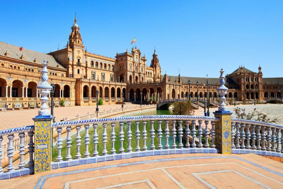 La plaza de España de Sevilla , Vista de la Plaza de España de Sevilla , España