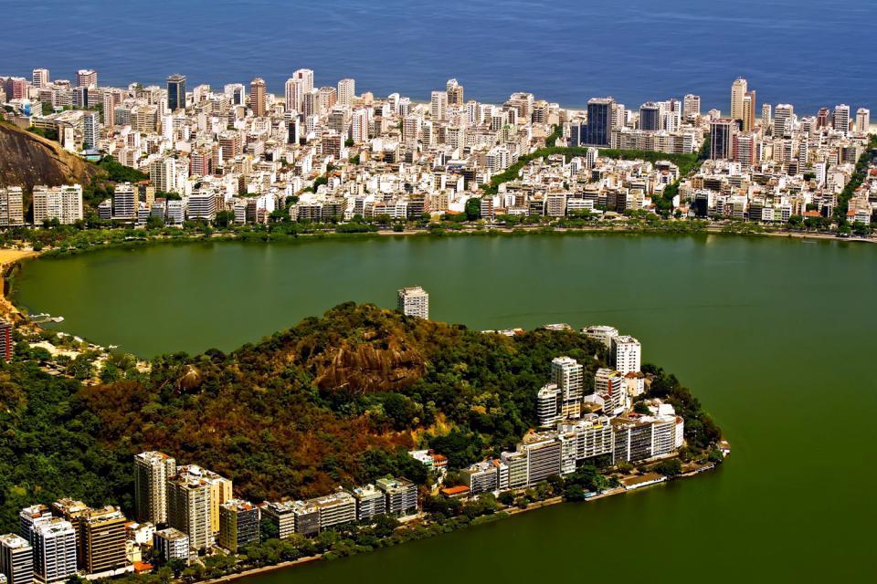 Le lagoa Rodrigo de Freitas , Le lac vue du ciel , Brésil