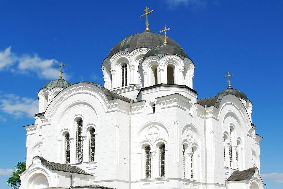 Die orthodoxe Kunst , Fassade einer orthodoxen Kirche , Weißrussland