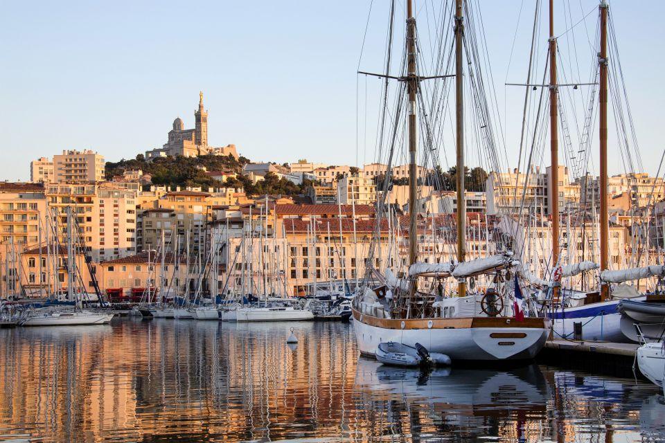 Notre Dame de la Garde seen from the port, Notre-Dame de la Garde, Monuments, Provence-Alpes-Côte d'Azur