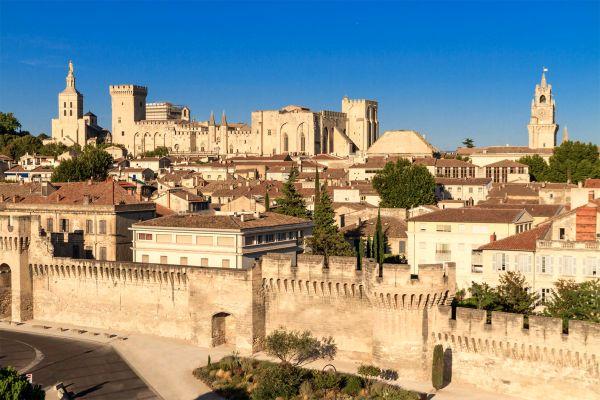 Vista panorámica del Palacio Papal, Palacio de los Papas, Los monumentos, Avignon, Provence-Alpes-Côte d'Azur