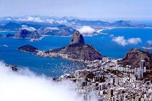 Die Bucht von Guanabara , Die Guanabara-Bucht in Rio , Brasilien