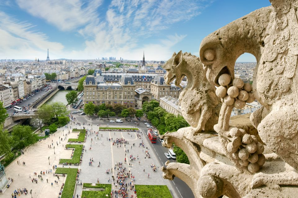 The west facade illuminated, Notre-Dame de Paris Cathedral, Monuments, Paris, Ile de France