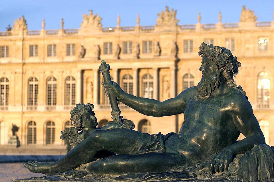 Palace of Versailles , Versailles at sunset , France