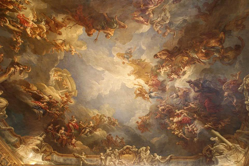Palace of Versailles , Ceiling detail in the Salon d'Hercule , France