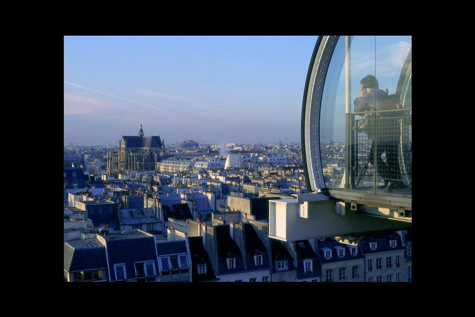 The Centre Pompidou , A view over Paris from the upper floors , France