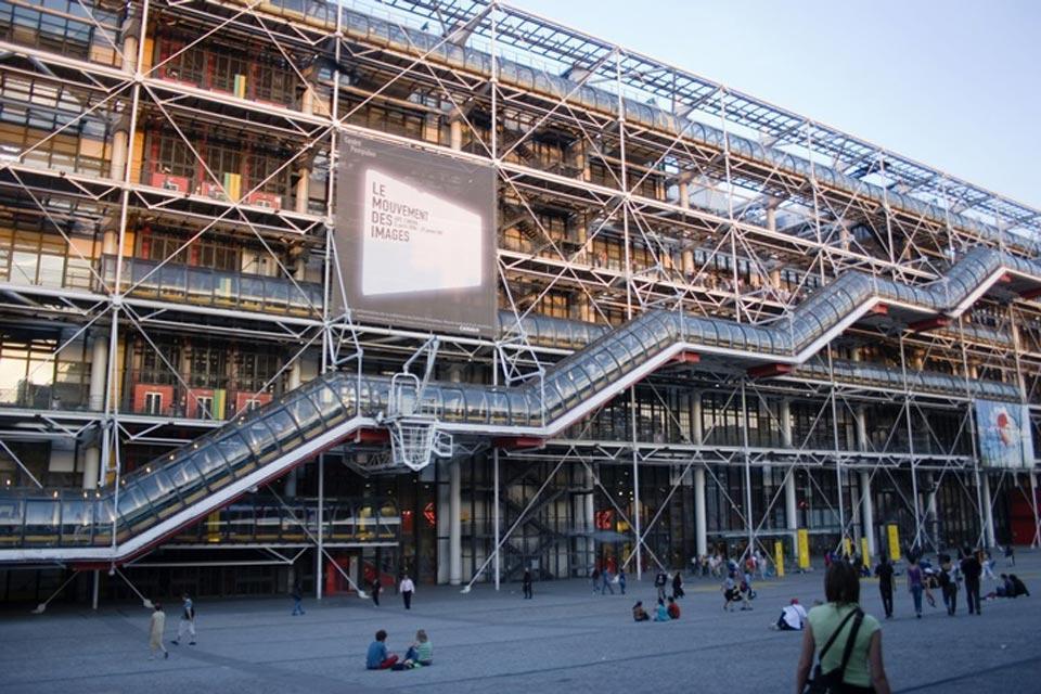 The Centre Pompidou , The façade of the Pompidou Centre , France