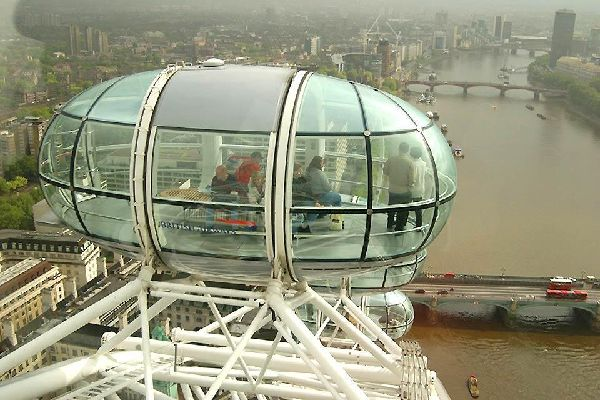 The London Eye , A close up of one of the wheel's pods , United Kingdom