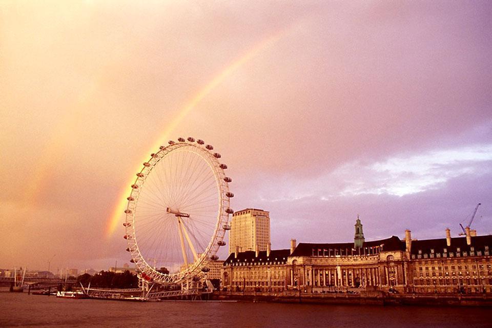 London Eye , Kontrastreiches Nebeneinander , Großbritannien