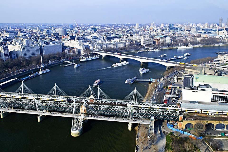 London Eye , Blick über die Themse , Großbritannien