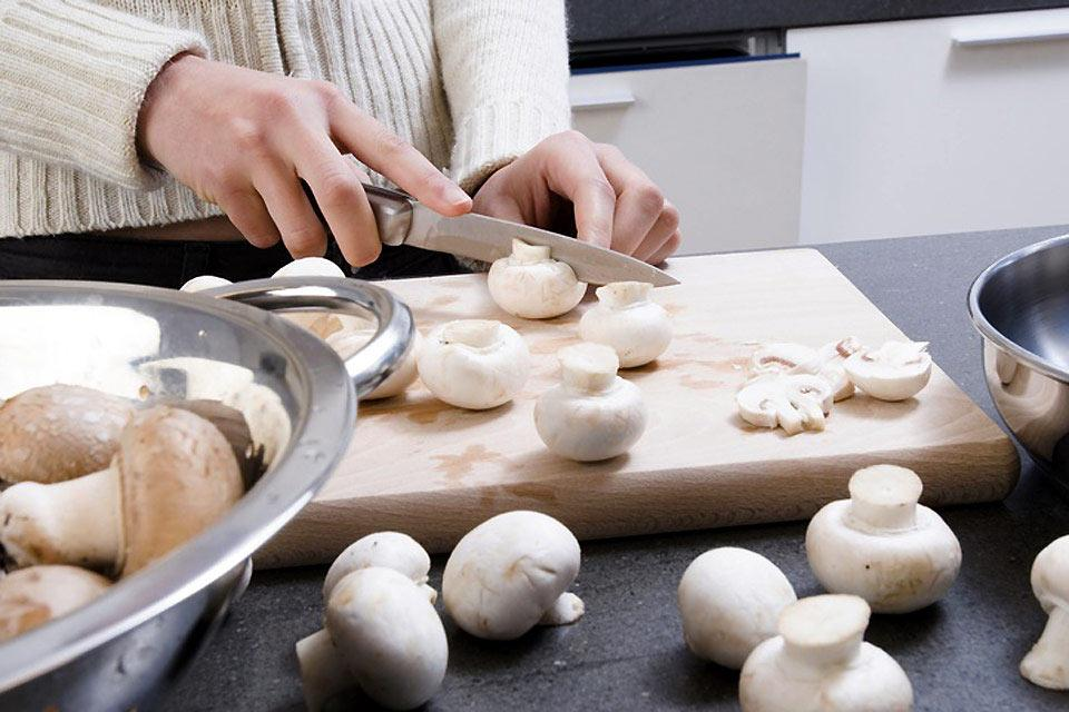 Moutarde de Meaux mustard , Button mushrooms in the safe hands of a chef , France