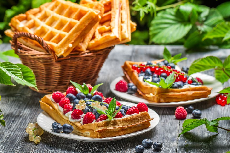 Waffles , A plate of waffles , France