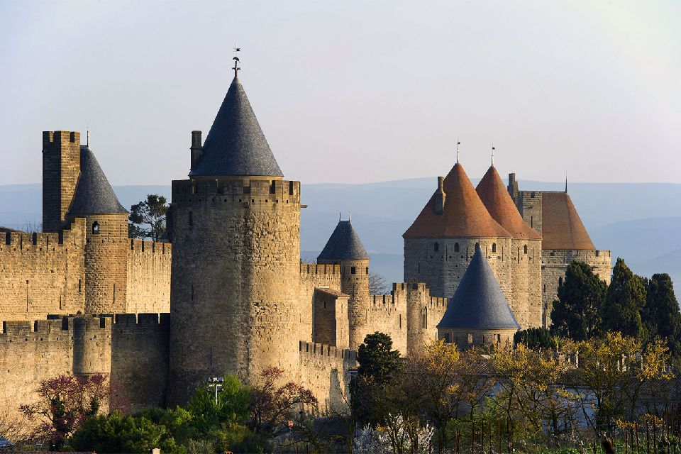 The fortified 'Cité de Carcassonne' , The fortified city of Carcassonne , France