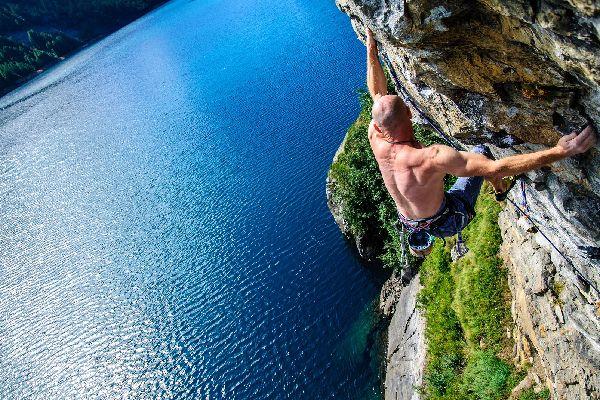 Rock climbing in the Lozère , Mont Lozère , France