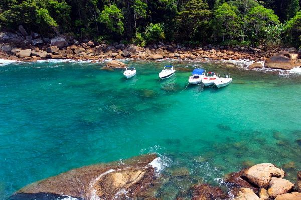 Ilha Grande and Angra dos Reis bay , Pink granite rocks , Brazil